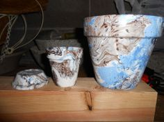 Marbling Flower Pots With Spray Paint