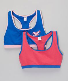 4d7ca6fe90e43 Loving this Hot Pink  amp  Royal Butterfly Sports Bra Set - Girls on  zulily