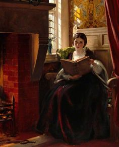 """A Pleasant Corner"" - 1865 - John Callcott Horsley (English painter) Reading Art, Woman Reading, Reading Books, Paintings I Love, Beautiful Paintings, Romantic Paintings, Royal Academy Of Arts, Fine Art, Oeuvre D'art"