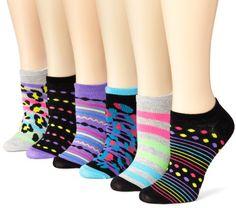 K. Bell Socks Women's 6-Pack Neon Animal No Show Socks, Multi, 9-11 $9.99