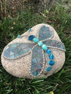 Mosaic dragonfly rock. By Cheri.