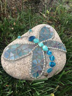 Mosaic dragonfly rock. By Cheri.