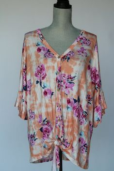 Floral Fusion Button-Up Top Salt And Light, Spring Colors, Button Up, Floral Tops, Tie Dye, Kimono Top, Peach, Yellow, Blouse