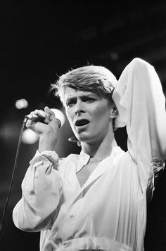 British pop singer David Bowie performing on stage during concert at Wembley. 29th June 1978.