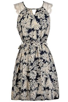Lily Boutique In The Palm Of Your Hand Printed Navy and Beige Dress, $32 Cute Tropical Dress, Navy and Beige Printed Dress, Cute Printed Dress, Palm Printed Dress, Cute Summer Dress, Navy Summer Dress, Tropical Party Dress, Navy Palm Branch Dress, Navy and Beige Dress www.lilyboutique.com
