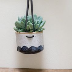 Hanging Wall Planter for Succulents Blue by SarahStearnsCeramics
