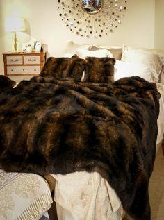 NZ Made Chocolate Brown Possum Fur Blanket Fur Bed Throw, Fur Blanket, Bed Throws, Bed Blankets, Fur Bedding, Luxury Bedding, Viking Bed, Cow Hide Rug, Hide Rugs
