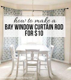 DIY Bay Window Curtain Rod – Furniture and Door Decoration Diy Bay Window Curtains, Bedroom Windows, Kitchen Curtains, Bay Window Bedroom, Bay Window Decor, Striped Curtains, Farmhouse Curtains, Blue Curtains, Shower Curtains