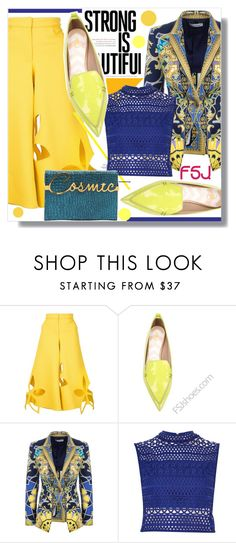 """""""FSJ"""" by jenny007-281 ❤ liked on Polyvore featuring Rosie Assoulin, Versace, River Island, Charlotte Olympia and fsjshoes"""