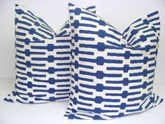Decorative PillowBlueWhiteSET OF TWO 20x20 by ElemenOPillows. I want this with a red one!