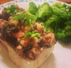 Steamed Tofu with Shrimp and black mushrooms and steamed broccoli drizzled with sesame oil
