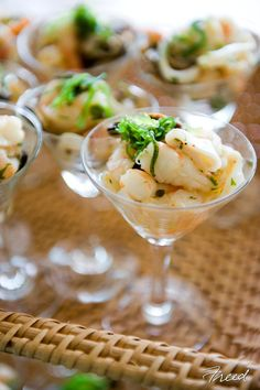 Love these Shrimp Martinis by Ridgewells Catering.  Martini glasses can be used for presentation of a variety of wonderful appetizers!