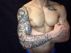 #full sleeve tattoo #angel sleeve #wallington tattoo #dove and rose tattoo #religious sleeve by Tommy