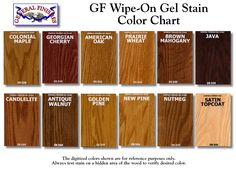 General Finishes Wipe-On Gel Stain Color Chart