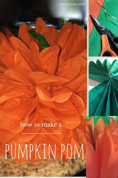Learn how to make a pumpkin pom. All you need is 13 sheets of tissue paper, a tie and scissors | PomAdore