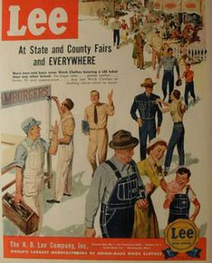 vintage LEE work wear blue jeans overalls uniforms menswear men illustration advertisement by Christian Montone,:: Vintage Jeans, Vintage Outfits, Vintage Fashion, 1940s Fashion, Pin Up, History Of Jeans, Blue Jean Overalls, Man Illustration, Illustration Fashion