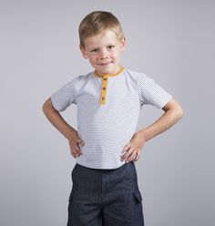 Nautical Boys Striped Henley T-Shirt with Mustard Yellow Detail Metal Buttons, Body Measurements, Mustard Yellow, Kids Clothing, 6 Years, Boy Or Girl, Nautical, Kids Outfits, Detail