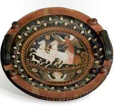 A red-figure patera with a biga driven by Nike, Greek 330 B.C.