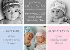 Druckbare Twin Geburtsanzeigen TwinBlöcke von PamelasDigitalPrints