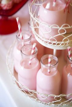 Strawberry milk in those iced coffee bottles... And I love those ;) @Angela Fox