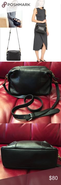 """Madewell mini glasgow crossbody bag Leather. Please note: Made of a natural material, each bag varies slightly in texture and color. Zip closure. Interior pockets. 21 7/10"""" shoulder strap. 6 3/5""""H x 9 1/2""""W x 4""""D. Gently Used! In excellent condition. 🚫No trades Thank you😊 Madewell Bags Crossbody Bags"""