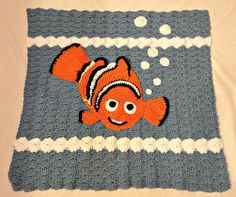 Crocheted Baby Blanket nemo goldfish blue fish by PeytonsBowtique1, $50.00