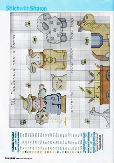 farm animal cross stitch farmer, cow, sheep, goose, cart