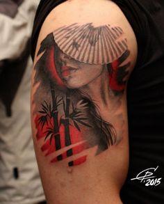 Татуировки Гейша  в стиле Цветная  Плечо