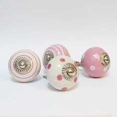 PInk Spotted & Striped Cupboard Knobs
