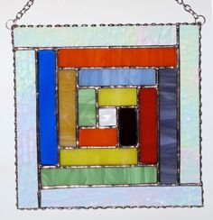 Stained Glass Panel Suncatcher  Square Geometric by GLASSbits