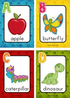 Printable Alphabet Flash Cards. Great for a memory game: print 2 copies and have children take turns flipping them over to make a match. Could also ask children name an object which begins with the letter.