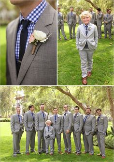 Matching blue and grey groomsmen and ring bearer looks. Captured By: Becky Schwartz Photography & Studio Benjamin James ---> http://www.weddingchicks.com/2014/06/04/300-plus-wedding-made-intimately-cozy/