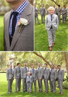 Matching blue and grey groomsmen and ring bearer looks. Captured By: Becky Schwartz Photography & Studio Benjamin James ---> http://www.weddingchicks.com/2014/06/04/300-plus-wedding-made-intimately-cozy/