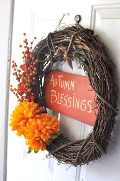 DIY Fall Wreath for under $10! and I'd love to add the first letter of our last name in there somewhere!