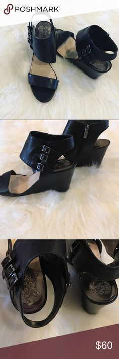 Vince Camuto Wedge Shoes Edgy and in excellent condition wedge shoes by Vince Camuto. Zipper on the inside with buckle detail across. Offers welcome! 🖤 Vince Camuto Shoes Wedges