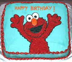 Simple Elmo birthday cake in aqua and red