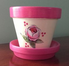 Spring Hand Painted and Decoupaged Clay Flower Pot & Saucer - Rose Motif