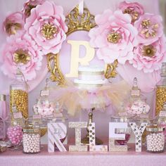 Shimmering-Pink-And-Gold-Baby-Shower-Dessert-Table