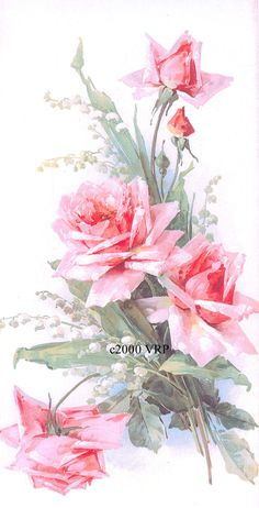 PRINT FREE SHIP Pink Cabbage Roses Lily of by VictorianRosePrints