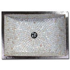 Linkasink V016 Rectangular Crescent Copper & Mosaic Tile Sink 21 x 14 x 12 - Wave Plumbing