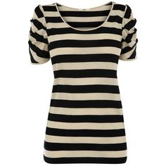 Lurex Stripe Top ($21) ❤ liked on Polyvore featuring tops, t-shirts, shirts, blusas, women's tops, women+tops, striped short sleeve shirt, ruched t shirt, black striped shirt and oasis t shirt