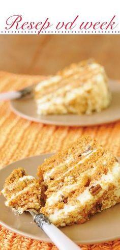 Vrouekeur | Wortelkoek Baking Recipes, Cake Recipes, Dessert Recipes, African Dessert, Best Carrot Cake, Carrot Cakes, Big Cakes, Sweet Tarts, No Bake Cake