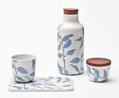 Pieces from the Leaves Stitches China Collection, designed by Gry Fager
