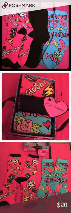 🆕 Betsey Johnson Crew Socks Gift Set, 3 PK Authentic Betsey Johnson Naughty-Nice Crew Socks Set, 3 PK. Women & Girls. Size: 9-11. 1-Naughty Pink Print with Cross Bones & Dice Graphics. 2-Black. 3-Nice Blue Print with Lips, Roses, & XOX Graphics. Betsey Johnson Graphics on the Feet of all Socks too. 97% Polyester/3% Spandex. Brand New in their own Colorful BJ Gift Box with Pink BJ Heart Gift Tag too. Excellent Condition. No Trades. Betsey Johnson Accessories Hosiery & Socks