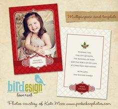 PSD Holiday Card Template  Mistletoe  E168 by birdesign on Etsy, $8.00