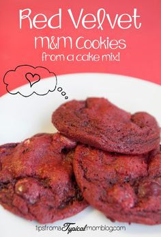 Red Velvet Cake Mix M&M Cookies.  Perfect for Valentines Day and your kids can make these on their own (except for the baking part) because they are made from a Cake Mix!  So easy!