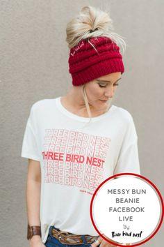 Three bird nest messy bun beanie tutorial
