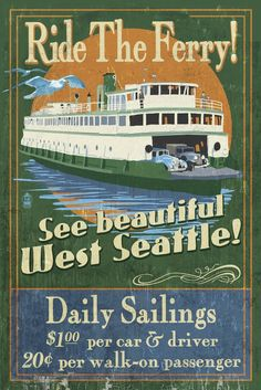 West Seattle - Ferry Vintage Sign (36x54 Giclee Gallery Print, Wall Decor Travel Poster) * Quickly view this special  product, click the image : Dining Entertaining
