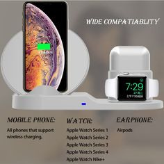 3 In 1 Qi Wireless Charger Phone Charger/Watch Charger/Earphone Charger For Smart Phone/iPhone/Apple Watch Series/Apple AirPods BazaCenters. Apple Watch Accessories, Ipad Accessories, Iphone Charger, Iphone 8, Apple Watch Nike, Apple Watch Series 2, Smartphone, Gadgets, Gadget