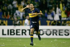 Picture of Juan Roman Riquelme of Boca Juniors when he celebrated a goal against Velez Sarsfield during the football match before quarterfinals of the Copa Libertadores 2007 at La Bombonera stadium in Buenos Aires, 02 May 2007. Boca Juniors is the Copa Libertadores champion after defeating Gremio 2-0 and Riquelme was chosen the MVP of the final.